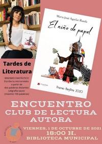 Cartel encuentro literario M Jose Aguilar